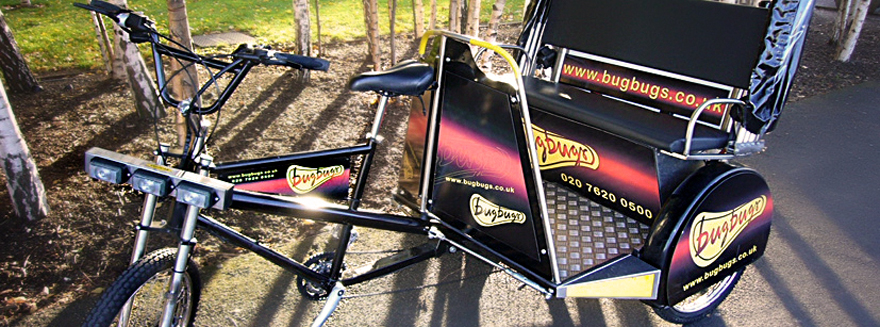 A Bugbugs branded rickshaw pictured on a bright sunny day