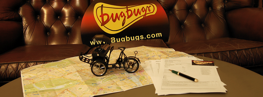 Ephemeral objects on a table representing rider information at Bugbugs