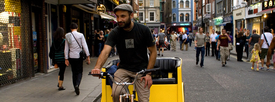A Bugbugs rider at work in Soho, Central London